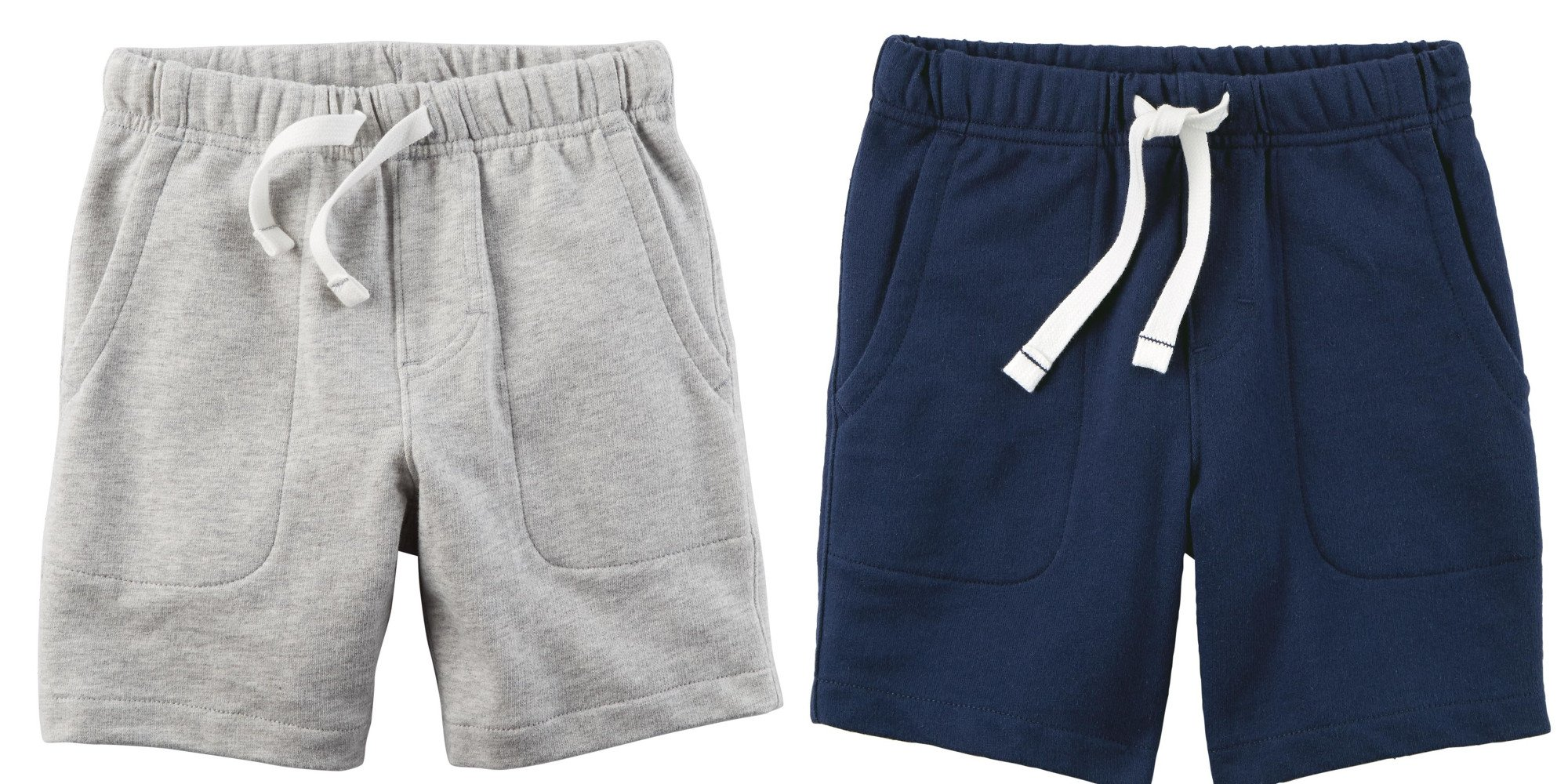 Carter's Set of 2 Boy's Cotton Pull On Shorts Toddler Little and Big Boys (6, Navy Blue and Light Heather Grey)