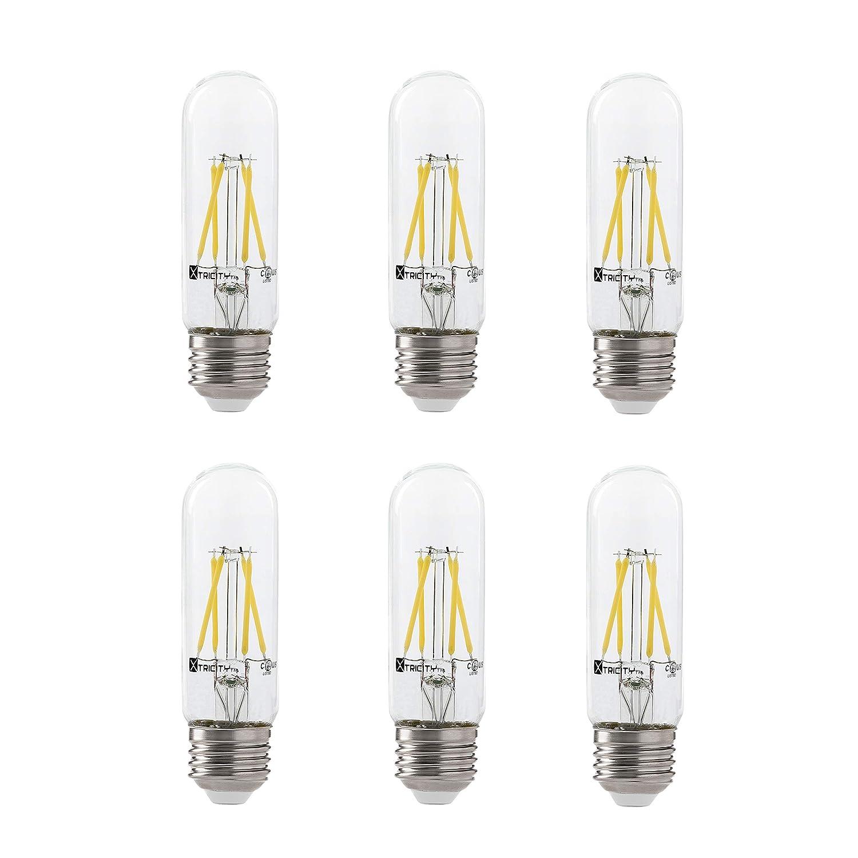 LED 4.5W T10 Clear Tubular Filament Light Bulb, 50W Equivalent, 400 Lumens, 3000K Soft White, E26 Medium Base, Dimmable, 120V, UL Listed, (6 Pack)