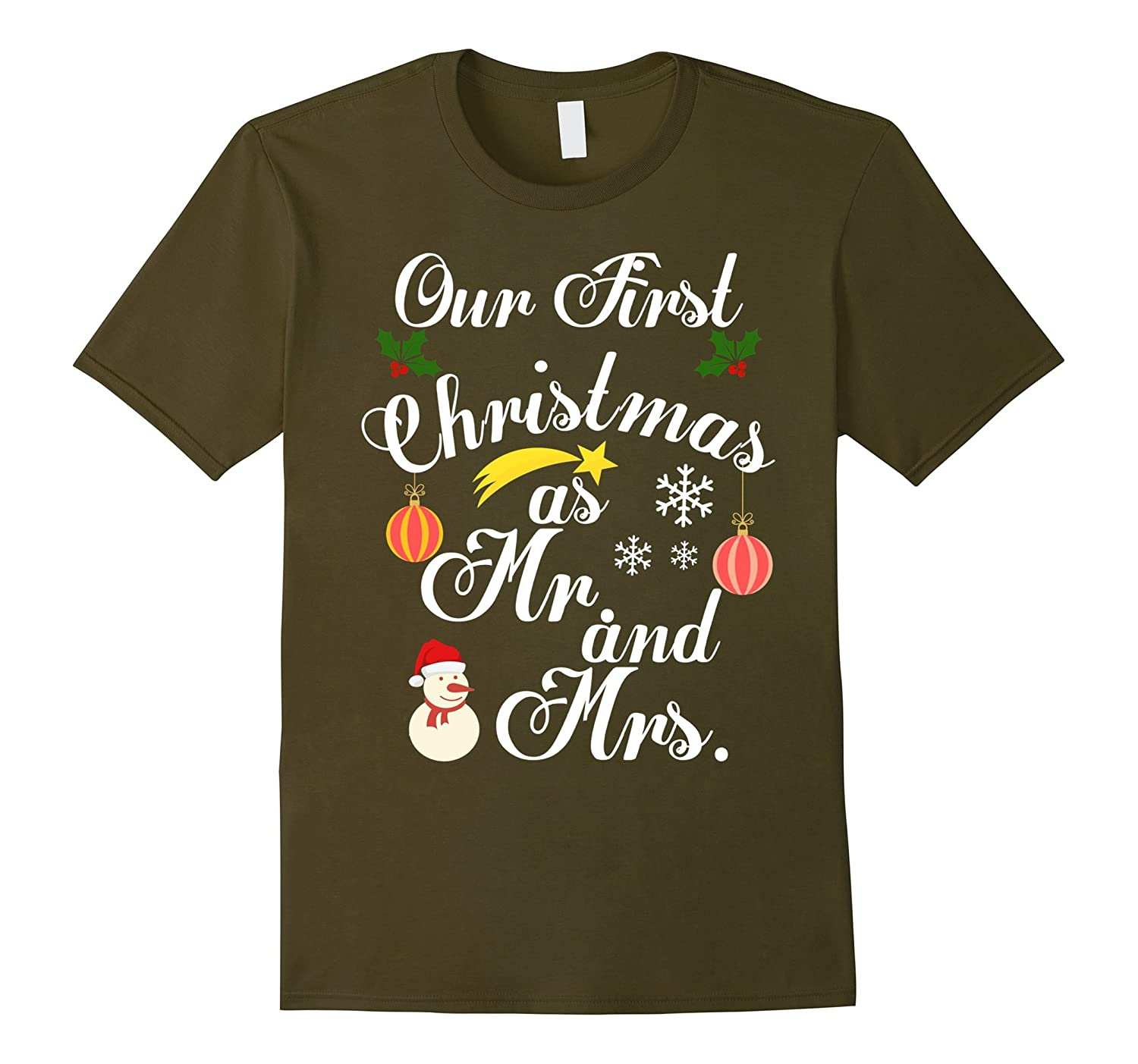 Our First Christmas As Mr and Mrs 2017 T Shirt-Rose