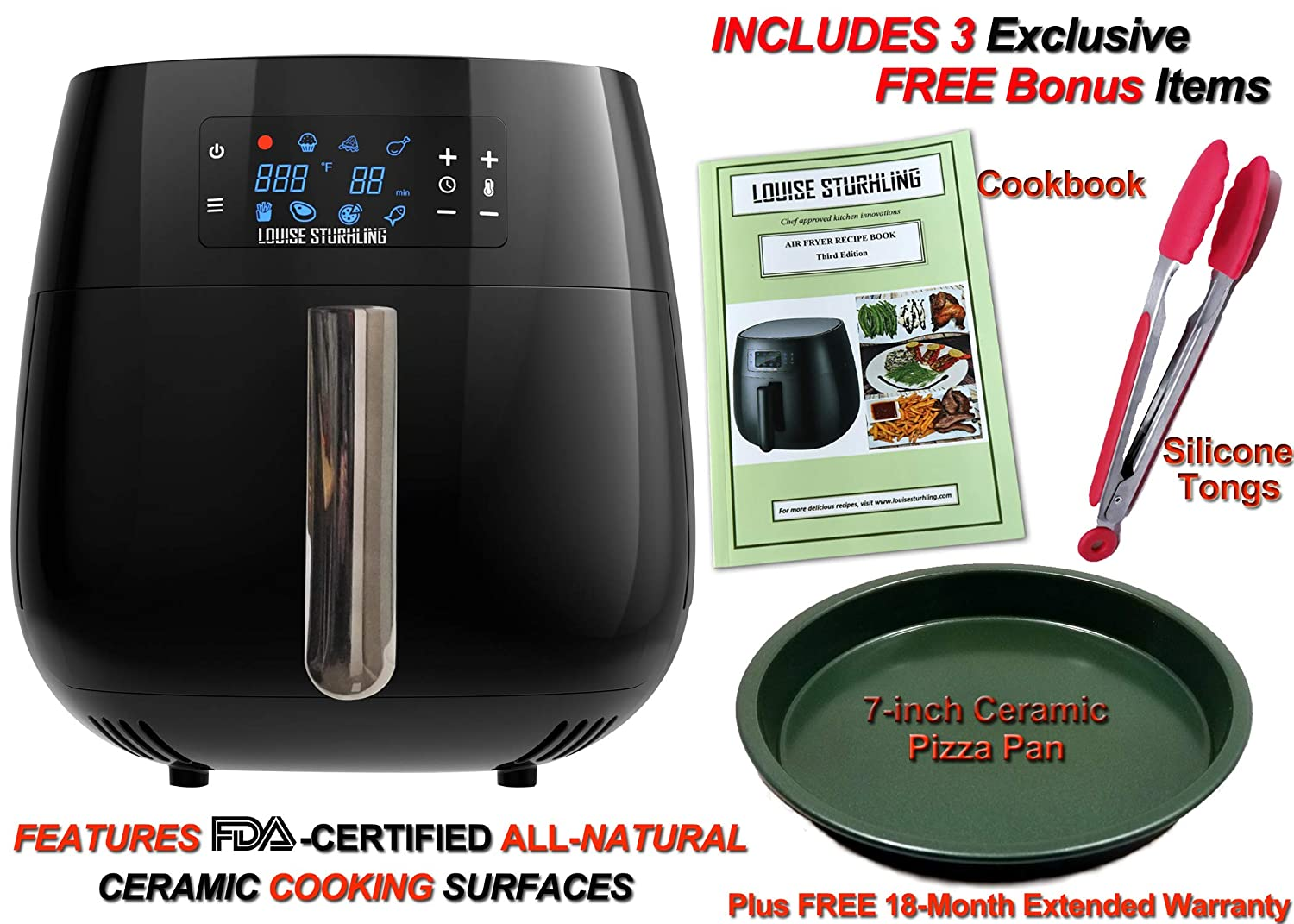 LOUISE STURHLING Chrome Series All-Natural Ceramic Coated 4.0 L Air Fryer, Free of Pb, Cd, BPA, PFOS PFOA, 7-in-1 programmable one-touch Settings. Includes 3 exclusive BONUS Items – COOKBOOK, TONGS Ceramic PIZZA PAN