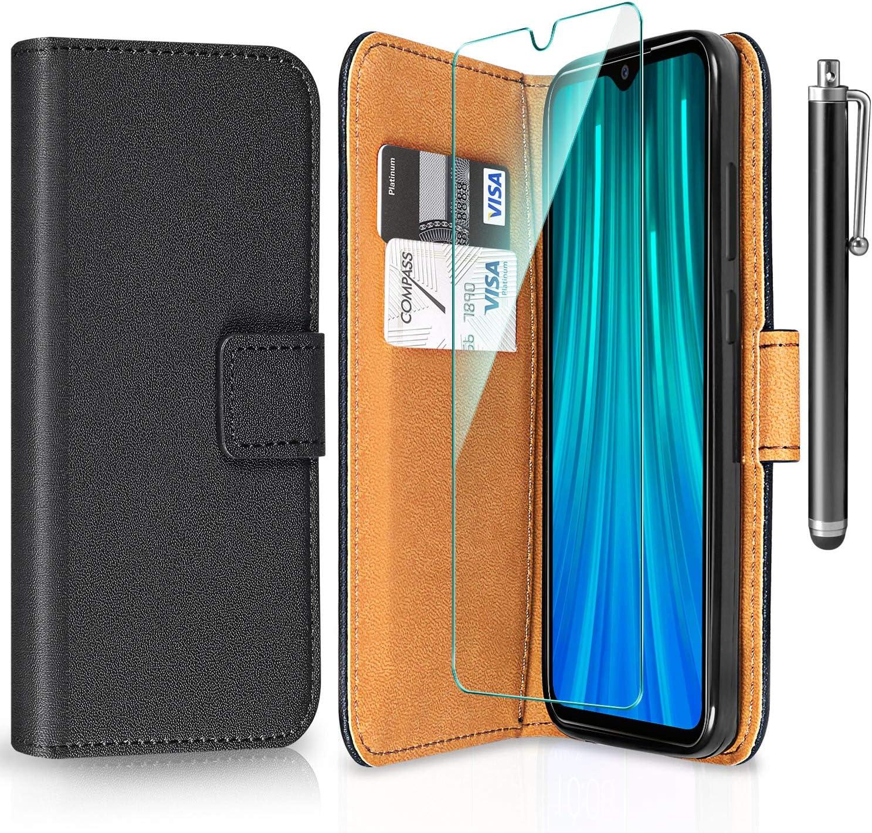 ivencase para Funda Xiaomi Redmi Note 8 Pro + Protector de Pantalla + Pen, Libro Caso Cubierta la Tapa magnética Protector de Billetera Cuero de la PU Carcasa para Xiaomi Redmi Note 8 Pro - Negro