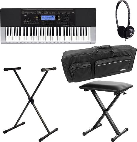Casio CTK-1100 4400 con soporte para teclado, auriculares, Keyboard Funda y teclado Banco: Amazon.es: Instrumentos musicales