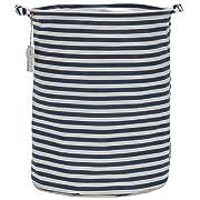 Sea Team 19.7  Large Sized Waterproof Coating Ramie Cotton Fabric Folding Laundry Hamper Bucket Cylindric Burlap Canvas Storage Basket with Stylish Navy & White Stripe Design