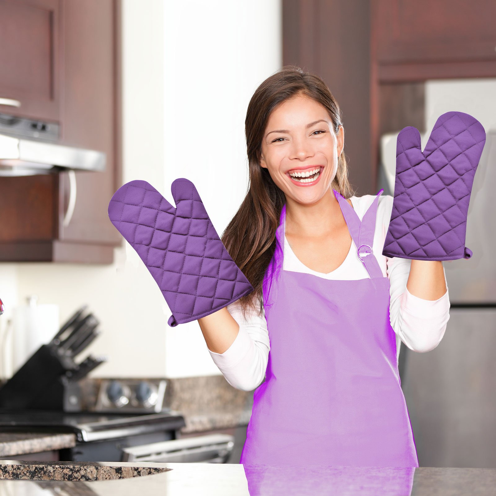 VEEYOO Cotton Oven Mitts Pot Holders Set - Kitchen Silicone Oven Mitt Heat Resistant, Non-slip Grip Oven Gloves Potholder 3 Packs Cooking, Baking & BBQ, Purple by VEEYOO (Image #7)
