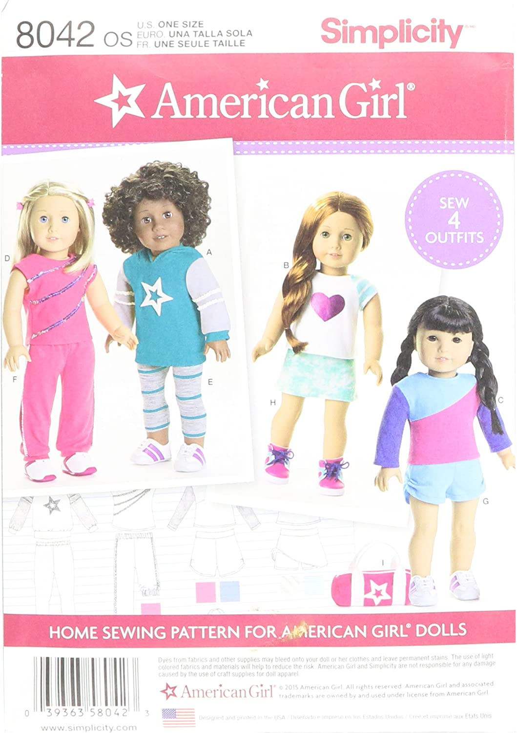 Simplicity 8281 American Girl Doll Clothes Outfit Sewing Patterns for 18 Dolls