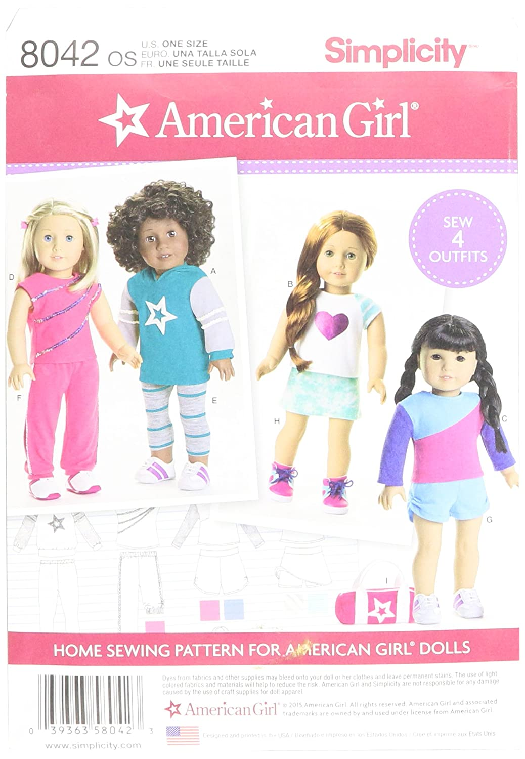 Simplicity Patterns American Girl Doll Clothes for 18 Inch Doll Size: Os (One Size), 8042 OUTLOOK GROUP CORP US8042OS