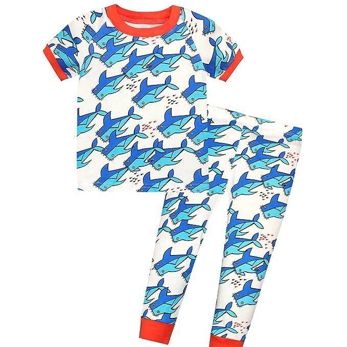 89e16e328aab Amazon.com  AMGLISE Kids Little Boys Rock Shark Short Sleeve Pajamas ...