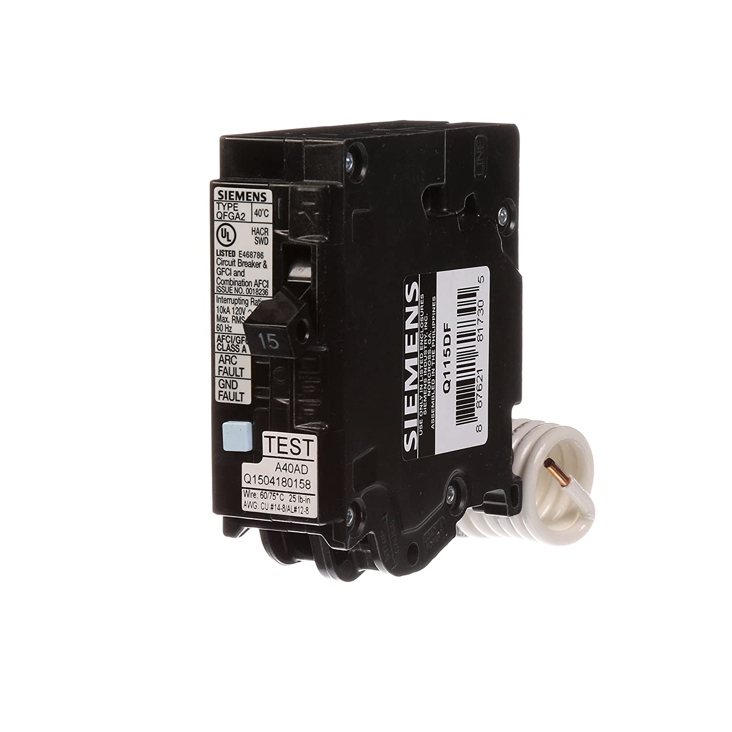 Siemens Q115DF 15-Amp Afci/Gfci Dual Function Circuit Breaker, Plug on Load  Center Style - - Amazon.com