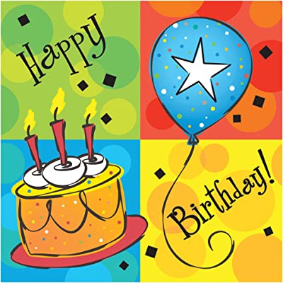 Creative Converting 16 Count 3 Ply Cake Celebration Lunch Napkins, Green/Blue/Red: Childrens Party Napkins: Kitchen & Dining