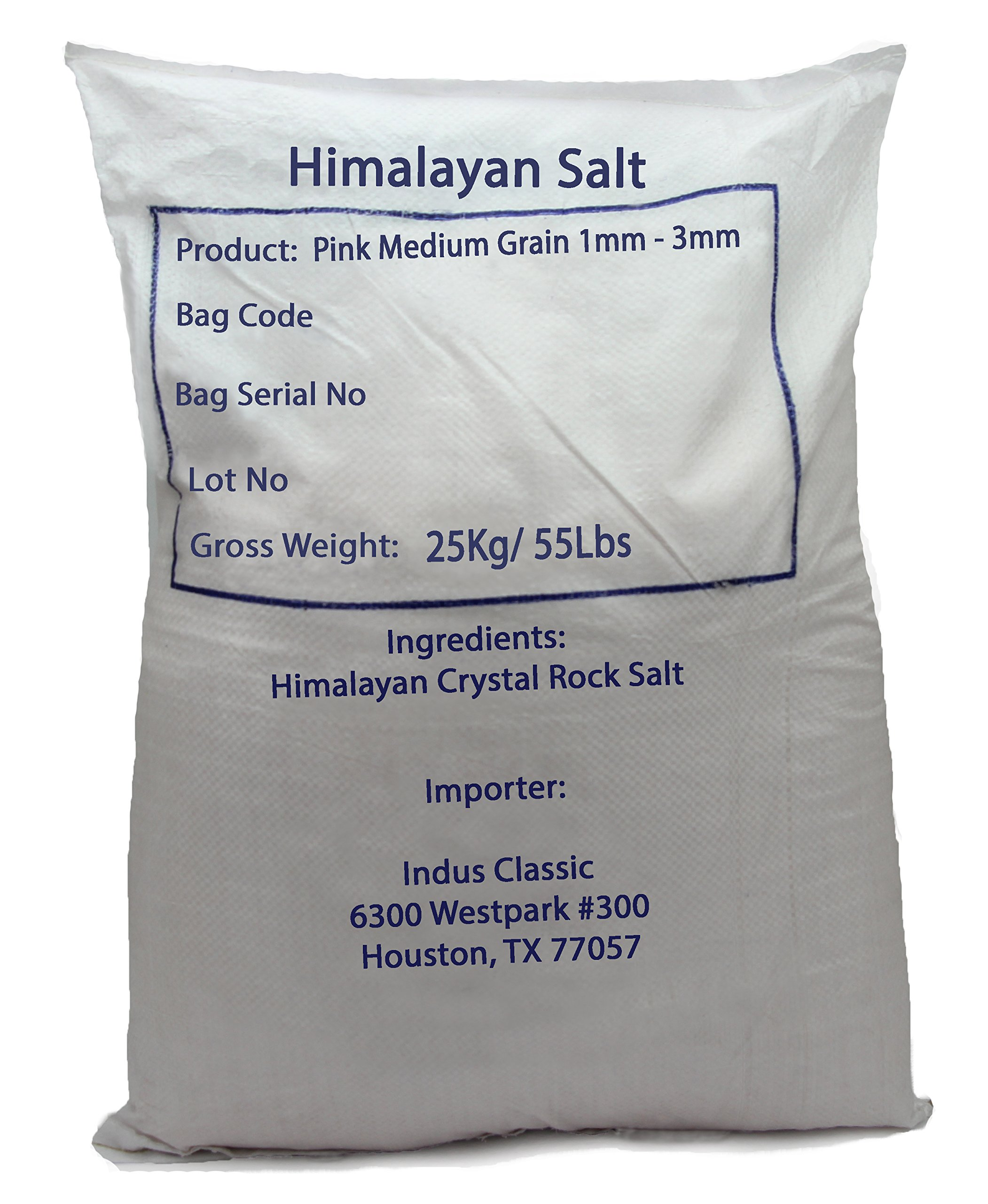 Indusclassic Authentic Pure Natural Halall Unprocessed Himalayan Edible Pink Cooking Salt --- 55 lbs Medium Coarse Grain 1~3mm