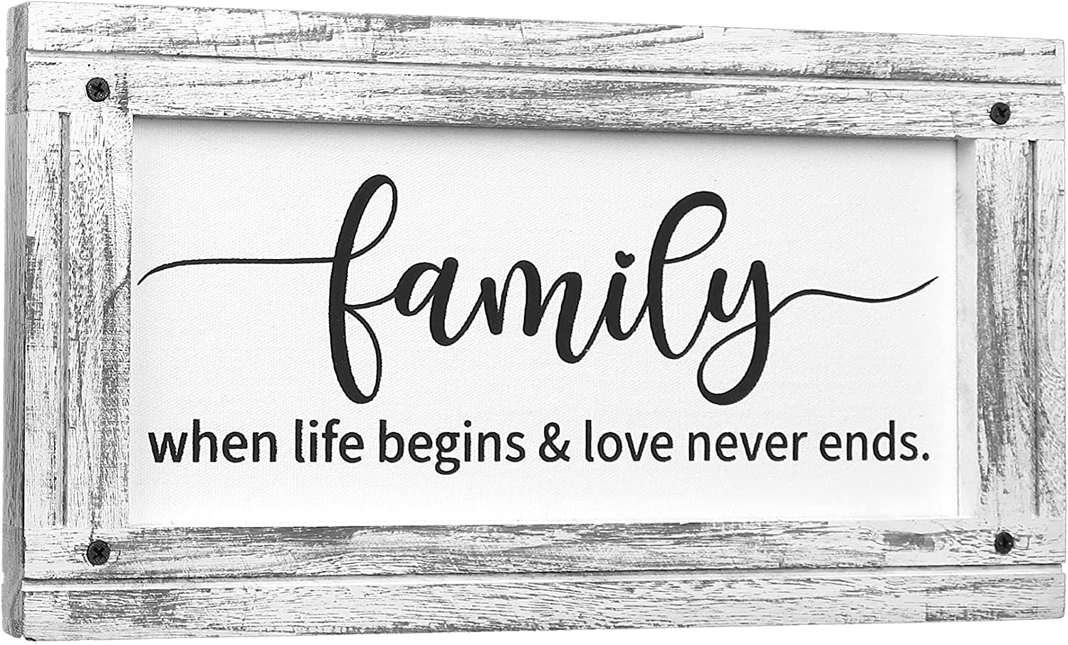 Family Wall Decor - Farmhouse Wooden Sign for New Life Begins , Gifts for Wedding,New Mom and Dad - Solid Wood Frame & Canvas Prints Art , Handmade Rustic Wall Decoration for Home - 8.5 x16 Inch