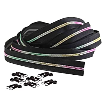 Regenbogen Reißverschluss endlos 5 mm Laufschiene Meterware 20 Zipper
