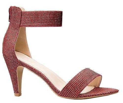 1ab1d53e945 OLIVIA K Women's Open Toe High Heel Ankle Strap Sandal