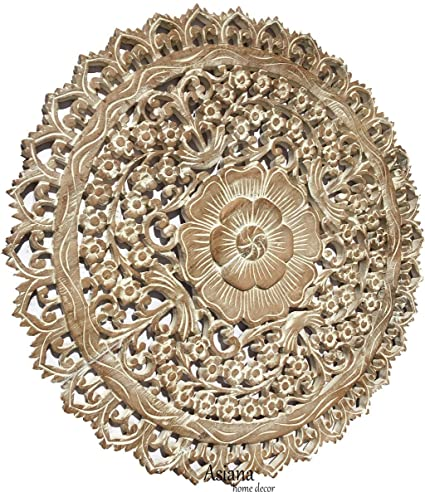 Asiana Home Decor Tropical Bali Wood Carved Wall Art Plaque Round Wood Wall Decor Floral Wood Wall Hanging 24 White Wash