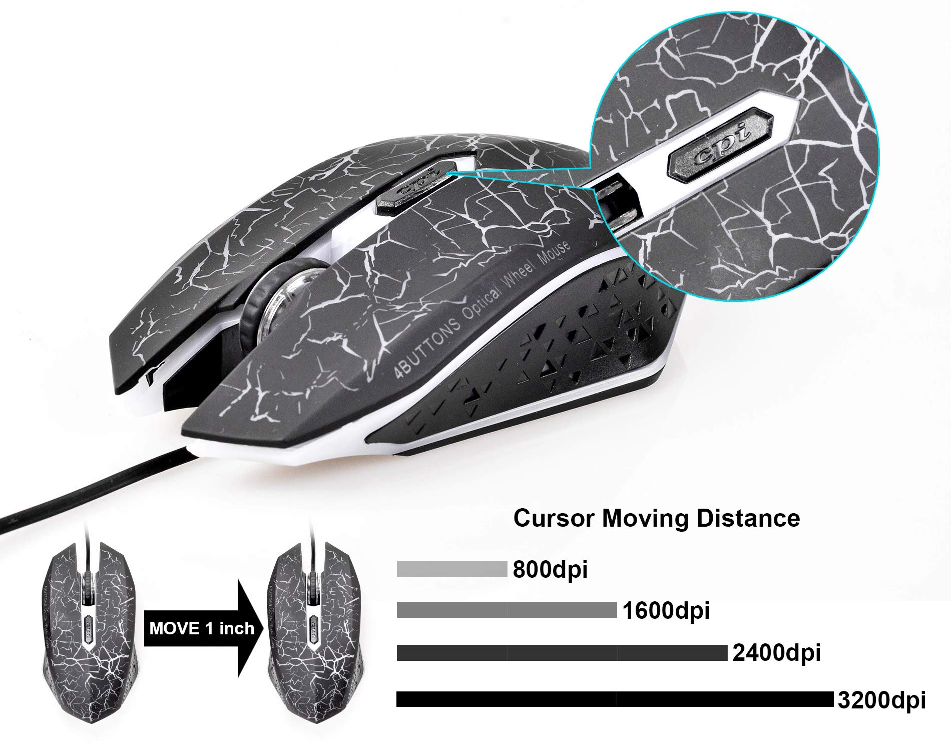1.3m Durable Color : Black Length K1 USB 1600DPI Three-Speed Adjustable LED Backlight Mute Wired Optical Gaming Mouse