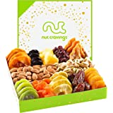Dried Fruit & Nut Gift Basket in White Box (12 Piece Assortment) - Fathers Day Prime Arrangement Platter, Birthday Care Packa