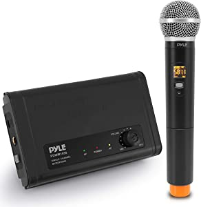 Compact UHF Wireless Microphone System - Pro Portable Single Channel Desktop Digital Mic Receiver Set w/ 1 Handheld Mic, Receiver Base, USB Cable, Battery, for Home, PA, Karaoke, DJ - Pyle PDWM1950