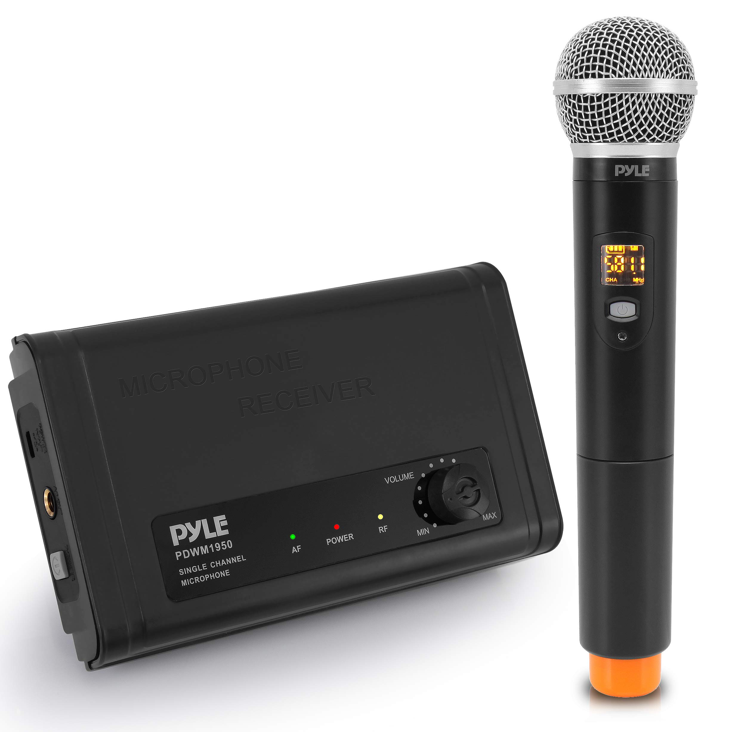 Compact UHF Wireless Microphone System - Pro Portable Single Channel Desktop Digital Mic Receiver Set w/ 1 Handheld Mic, Receiver Base, USB Cable, Battery, for Home, PA, Karaoke, DJ - Pyle PDWM1950 by Pyle
