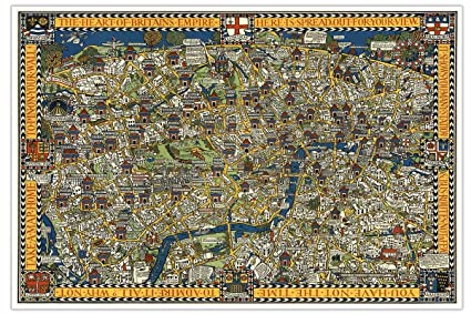 London Town Map.Gallery Prints Wonderground Map Of London Town Circa 1927 Measures 24 High X 36 Wide 610mm High X 915mm Wide