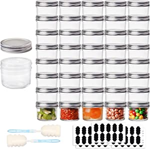 HWASHIN 4 OZ Mason Jars with Regular Lids (Silver), 40 Pack Glass Jars with Labels and Sponge Brushes, Ideal for Baby Foods, Honey, Jam, Wedding Favors