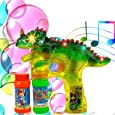 Toysery Dinosaur Bubble Machine Gun for Kids - Automatic Colorful Bubble Blower - Kids Summer Outdoor Fun Bubble Blaster Toy with LED Lights and Music for Birthdays and Parties - Extra Refill Bottle