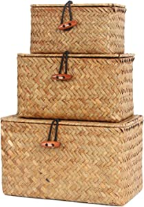FEILANDUO Shelf Baskets Set of 3 Handwoven Seagrass Storage Box Wicker Basket Desktop Makeup Organizer Multipurpose Container with Lid(original (S/M/L)