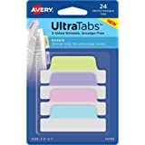 "Avery Ultra Tabs, 2.5"" x 1"", 2-Side Writable, Pastel Blue/Pink/Purple/Green, 24 Repositionable Margin Tabs (74769)"