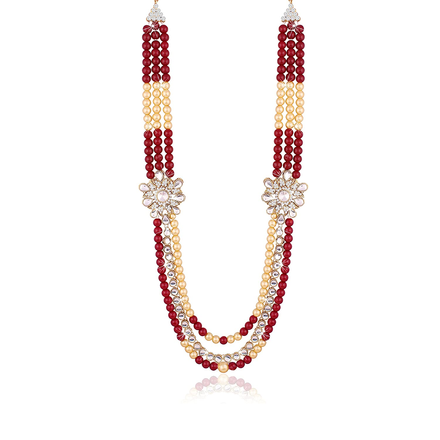 08585c4e9fd4 I Jewels Red Gold Plated Moti Mala Necklace for Men  Amazon.in  Jewellery