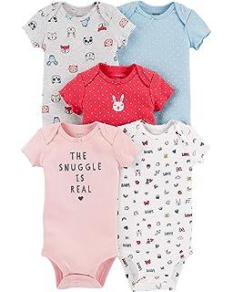 62dd39962 Amazon.com: Carter's Baby Girls 5 Pack Bodysuit Set, Unicorn Flowers ...
