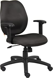 Boss Office Products Any Task Mid-Back Task Chair with Adjustable Arms in Black
