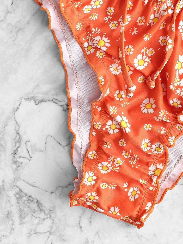 Bikini a Fascia da Donna Senza Spalline con Stampa di Margherite e Girasole ZAFUL con Lacci