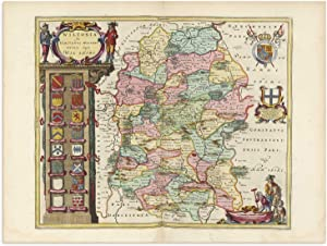 The Blaeu Prints   Wiltshire, England - Historical Map Print from Antique Atlas by Joan Blaeu - Old Map Shows: Bristol, Southampton, Swindon