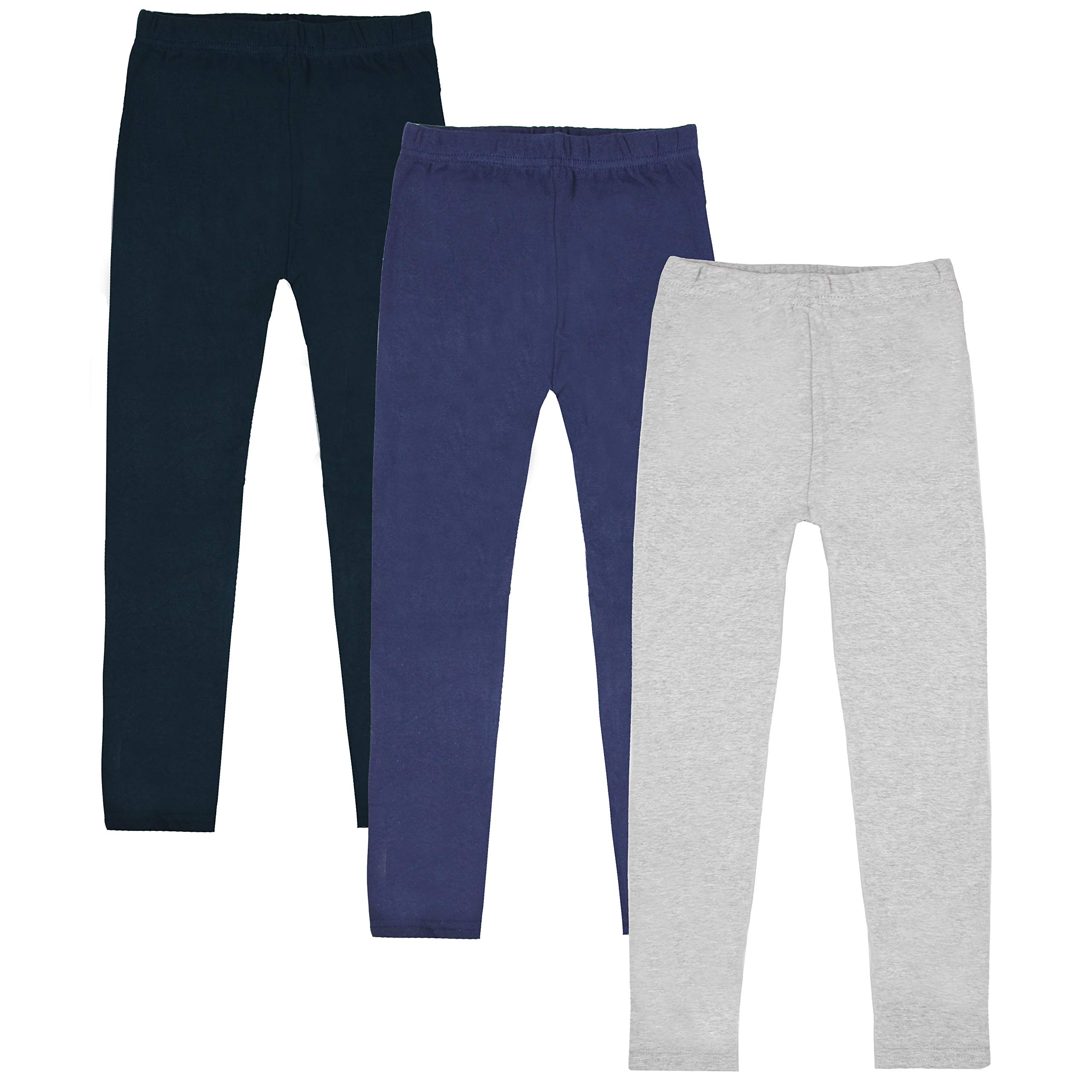 FreeNFond Girls Leggings 3 Pack Cotton Solid Spring Fall Winter Pants