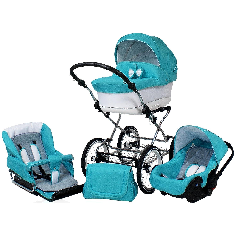 Carro bebé clásico. 3 piezas: capazo, silla, silla de coche ...