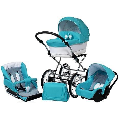 Carro bebé clásico. 3 piezas: capazo, silla, silla de coche, accesorios
