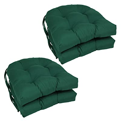 """Blazing Needles Solid Twill U-Shaped Tufted Chair Cushions (Set of 4), 16"""", Forest Green: Home & Kitchen"""