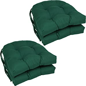 """Blazing Needles Solid Twill U-Shaped Tufted Chair Cushions (Set of 4), 16"""", Forest Green"""
