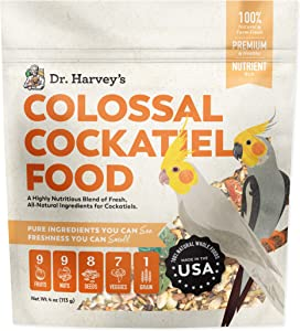 Dr. Harvey's Colossal Cockatiel Food, All Natural Daily Food for Cockatiels