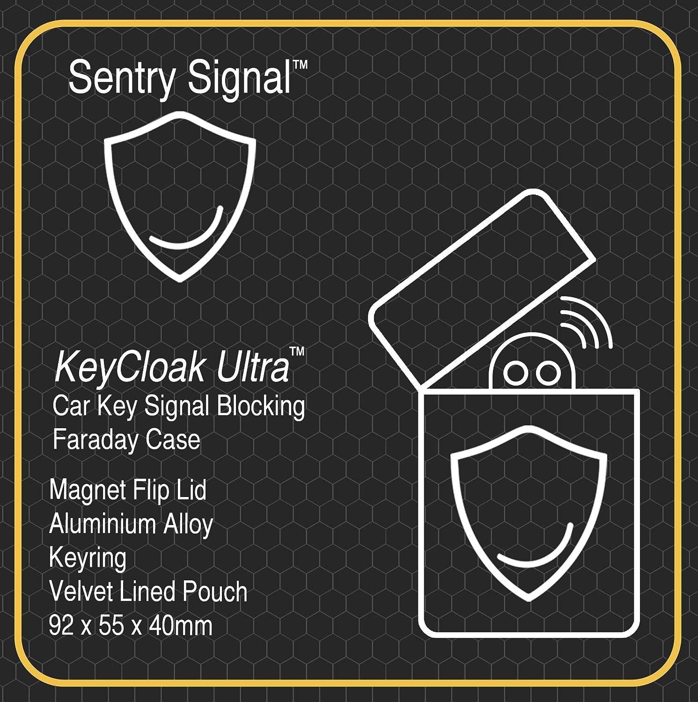 Aluminium Car Key Signal Blocking Faraday Box With Keyring Sentry Signal KeyCloak Ultra Vehicle Theft Protection Keyless Entry Fob Signal Blocker Magnet Flip Lid Case Velvet Lined Pouch