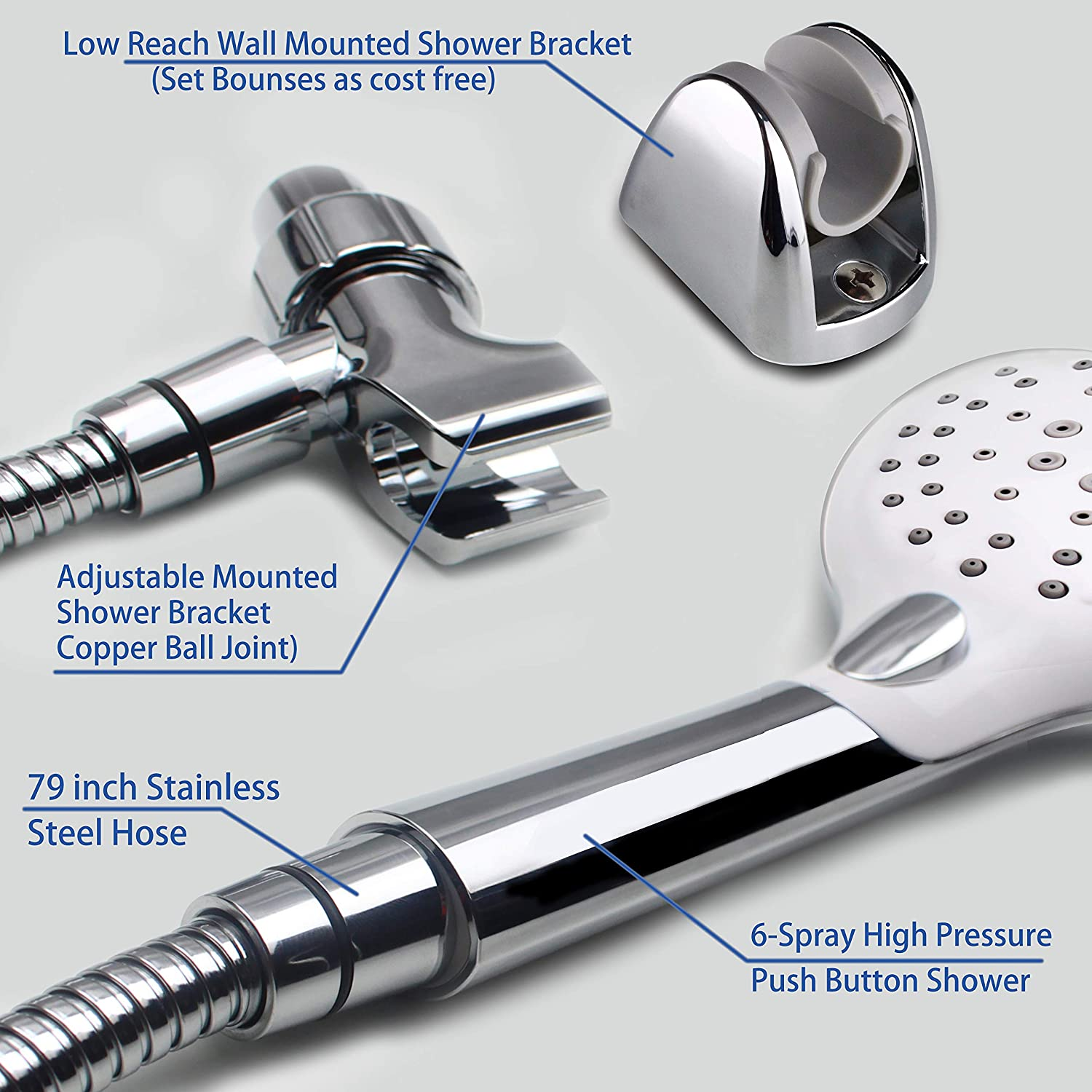 6-Setting Spray w//Recommended Powerful Intensive and Massage Spray w// 79  Longer Shower Hose and Copper Ball Bracket Holder w// 79 /'/' Longer Shower Hose and Copper Ball Bracket Holder YOO.MEE High Pressure Push-Button Handheld Shower Set