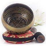 Silent Mind~ Tibetische Klangschale im antiquierten Design ~ mit Klöppel und Kissen~ ideal für Achtsamkeitsmeditation, Entspannung, Stress und Angstreduktion, Chakraheilung, Yoga, Zen ~ perfektes spirituelles Geschenk