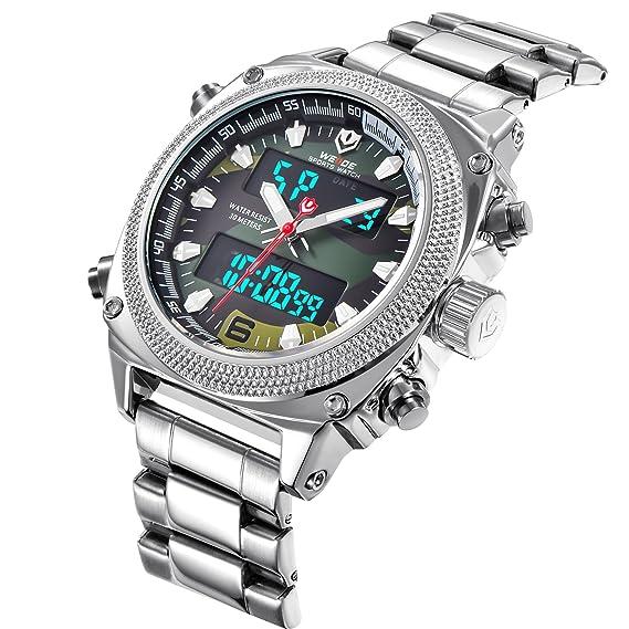 Relojes para hombre, reloj analógico digital con fecha, multifuncional, resistente al agua, con correa de acero inoxidable: Amazon.es: Relojes