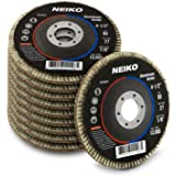 "Neiko 11108A Aluminum Oxide Flap Disc | 4.5"" x 7/8-Inch, 80 Grit, Flat Type #27-10 Pack"