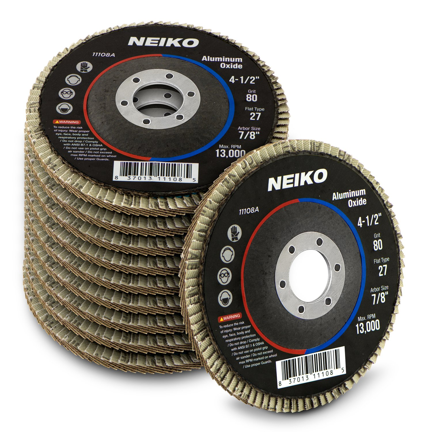 Neiko 11108A Aluminum Oxide Flap Disc | 4.5'' x 7/8-Inch, 80 Grit, Flat Type #27-10 Pack by Neiko
