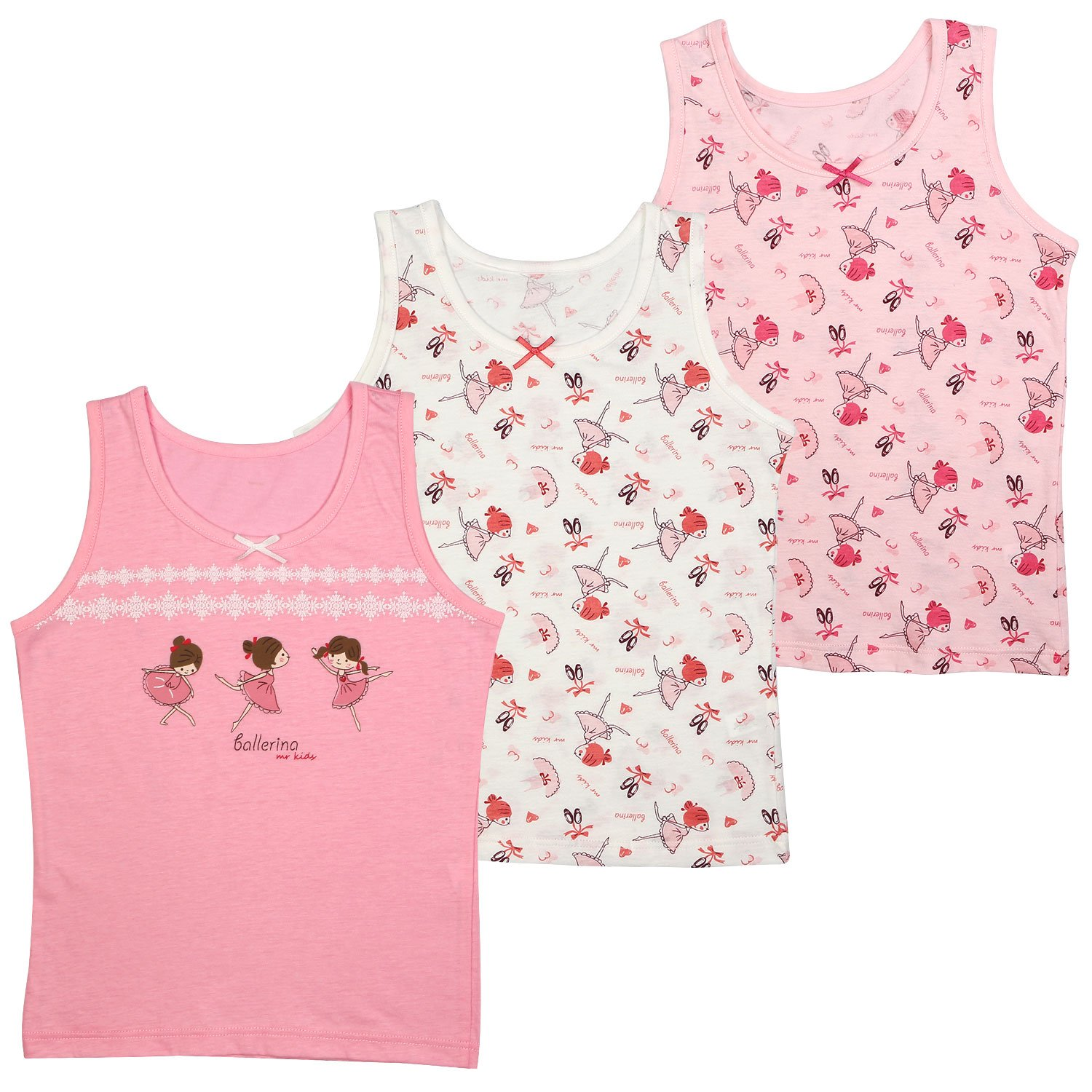 BOOPH Girls Cotton Camis Tanks Top 3 Pack Sleeveless Undershirt for Baby Toddler 1-7Y