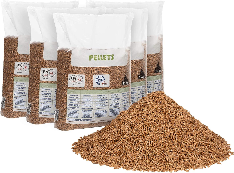 FlashPrix pellet para estufa 15kg x 5 sacos, de madera reciclada y biomasa, para lecho de conejos, gatos y más mascotas