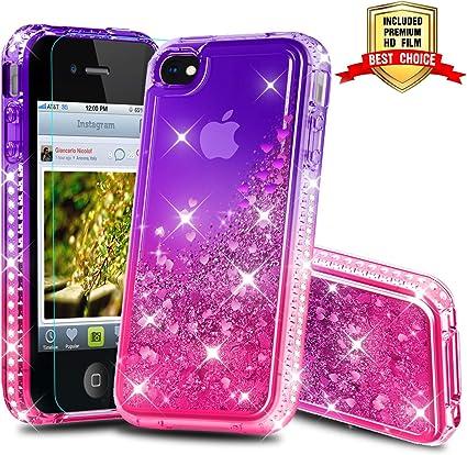 Atump Coque iPhone 4, Coque iPhone 4S avec Protecteur d'écran, Diamant Liquide Paillette Transparente 3D Silicone Gel Antichoc Kawaii Étui Fille ...