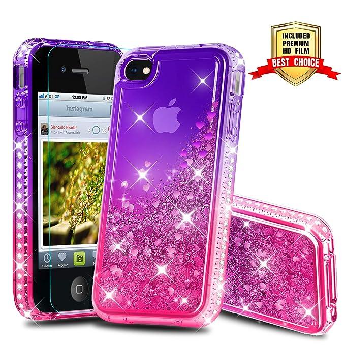 Atump iPhone 4 / 4S Glitzer Handyhülle mit HD Folie Schutzfolie, Schutzfolie Cover TPU Bumper Silikon Flüssigkeit Treibsand S