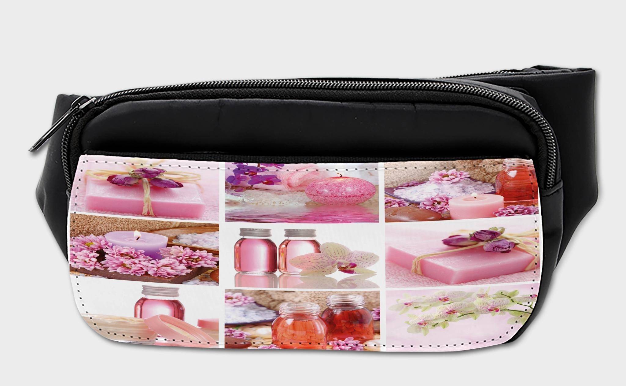 Lunarable Spa Bumbag, Flowers Wraps Bottles Pattern, Fanny Pack Hip Waist Bag
