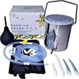 Medisential Enema Kit - Suitable For Coffee, Water and Gerson Therapy - 2 Quart BPA Free Stainless Steel Bucket - Comfortable, Reusable & Large for Home Use. With Full Instructions, eBook & Enema Bulb